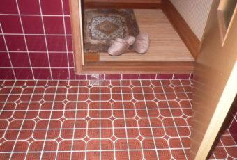 着手前2:廊下とトイレ空間の間に段差があります・・解消します