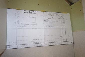 工事中3:型紙に合わせて、取付位置を決めます。